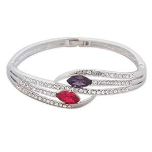 Bracelet fausses pierres magenta et violettes, strass