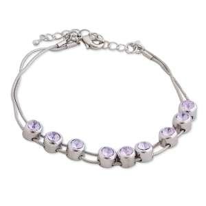 Bracelet cordelettes aux 9 bijoux en faux cristal mauve
