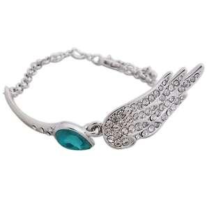 Bracelet fausse pierre turquoise et aile scintillante