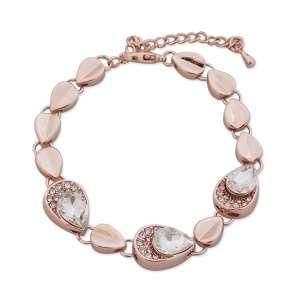Bracelet gouttes dorées, strass et faux cristaux blancs