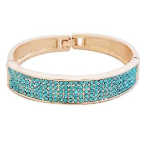 Large bracelet doré aux strass turquoise