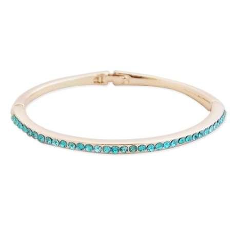 Bracelet fin doré aux strass turquoise