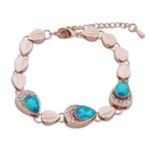 Bracelet gouttes dorées, strass et faux cristal turquoise
