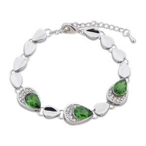 Bracelet gouttes argentées, strass et faux cristal vert