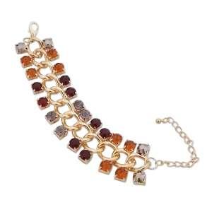 Bracelet grosses mailles dorées et faux diamants colorés