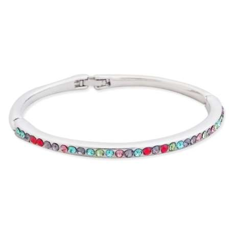 Bracelet argenté aux strass multicolores