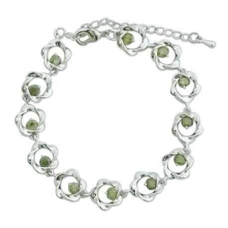 Bracelet fleurs torsadées argentées et pistils vert olive
