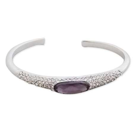 Bracelet argenté semi-ouvert, strass et faux diamant mauve