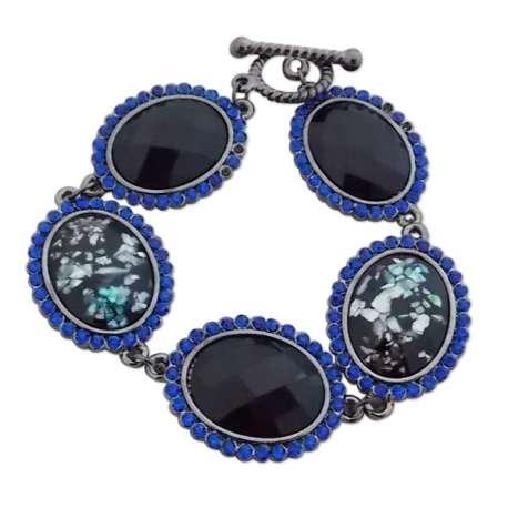 Bracelet strass bleus et faux cristaux noirs