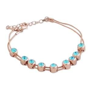 Bracelet doré 9 faux diamants turquoise mobiles