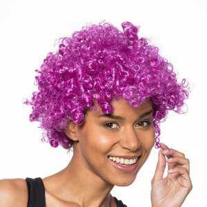 Perruque afro de couleur violette