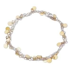 Bracelet 2 en 1, chaine argentée et palets dorés