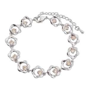 Bracelet argenté fleurs torsadées et fausses pierres ambrées