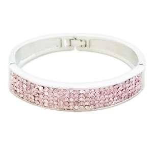 Bracelet large argenté aux strass roses