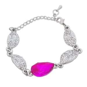 Bracelet fausse pierre rose et feuilles argentées et strass