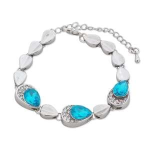 Bracelet gouttes turquoise, argentées et strass
