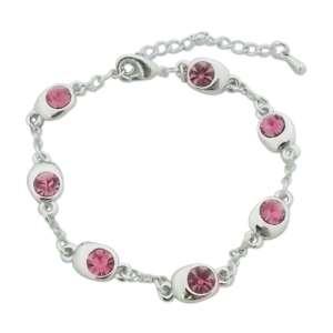 Bracelet avec 7 écrins ovales remplis de faux diamants roses