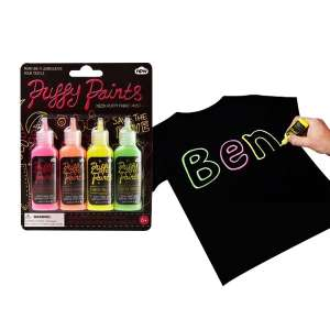 Lot de 4 tubes de peintures fluorescentes pour textile fluo