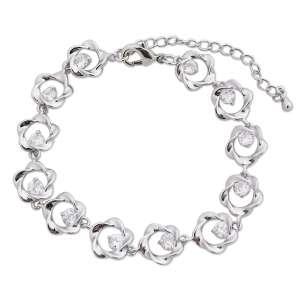 Bracelet argenté aux fleurs torsadés et faux diamants blancs
