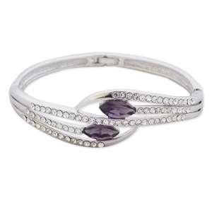 Bracelet argenté branches en strass et faux diamants mauves