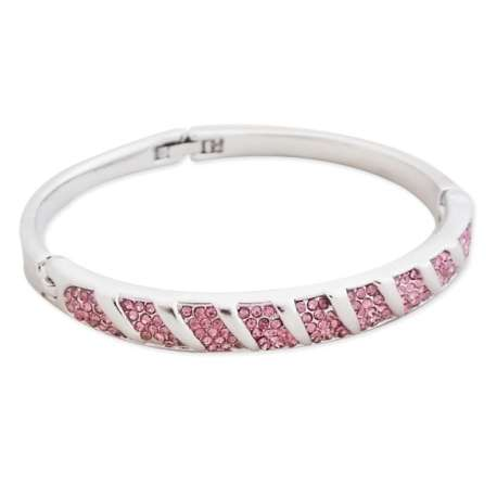 Bracelet argenté aux 9 rectangles de strass roses