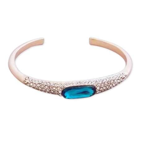 Bracelet doré semi-ouvert strass et fausse pierre turquoise
