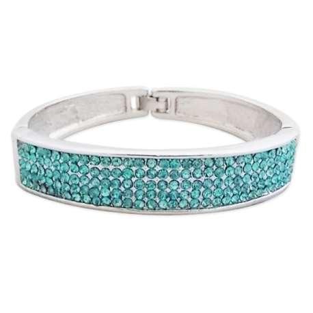 Bracelet argenté incrusté de strass turquoise