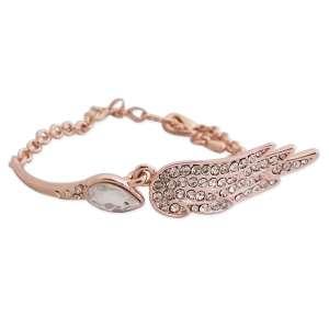 Bracelet doré scintillant avec aile d'ange