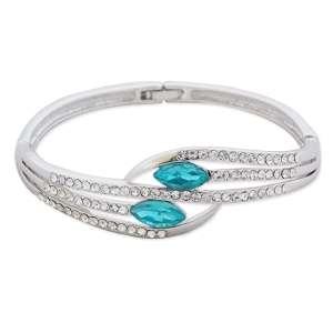 Superbe bracelet argenté, strass et fausses pierres turquoise