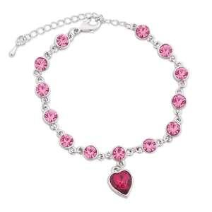 Bracelet aux faux diamants roses et cœur