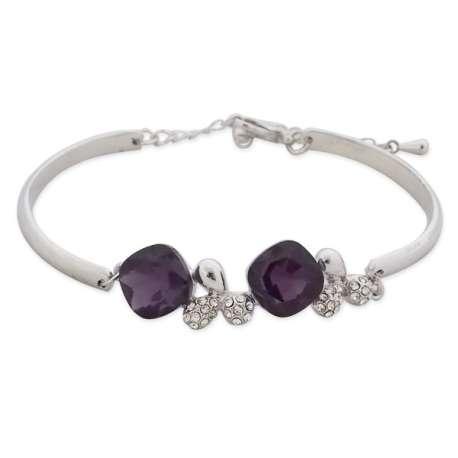 Bracelet argenté 2 bijoux en strass et faux cristal violet