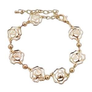 Bracelet aux 7 roses dorées et faux cristaux transparents
