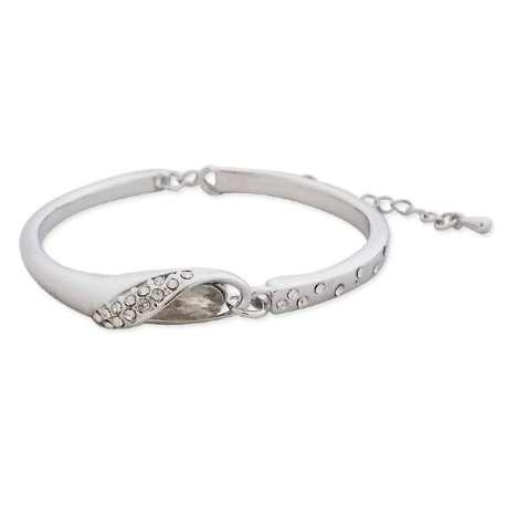 Bracelet argenté, faux diamant blanc et strass