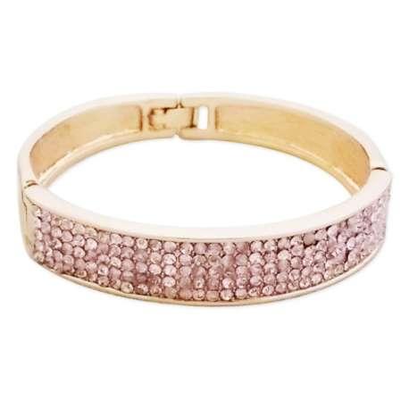 Bracelet élégant doré aux strass rose pâle