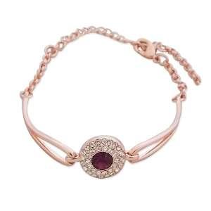 Bracelet doré, palet en strass et fausse pierre violette