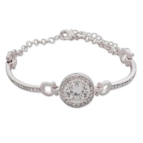 Bracelet argenté, faux cristal rond blanc et strass