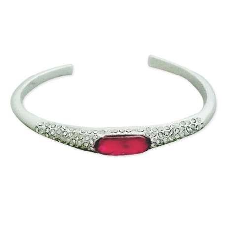 Bracelet rigide argenté semi-ouvert, faux diamant rose et strass