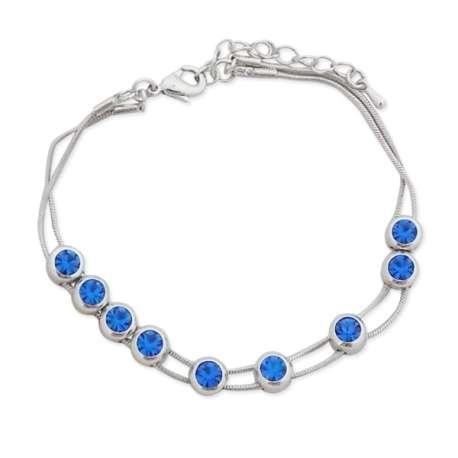 Bracelet double cordelette aux faux cristaux bleu roi