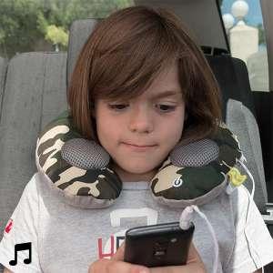 Coussin oreiller masseur de cou avec haut-parleurs intégrés