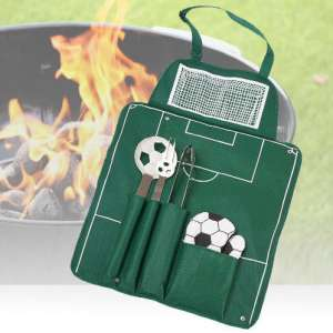 Tablier barbecue : football fourchette, spatule, pince, manique