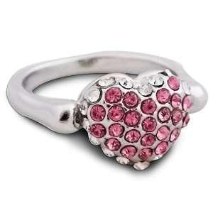 Bague fantaisie en forme de cœur avec strass brillants blancs et rose