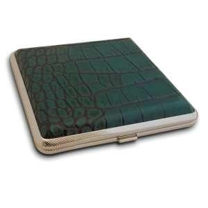 Boite à cigarette design en simili cuir de crocodile vert