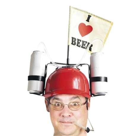 Casque à boire et petit drapeau I Love Beer