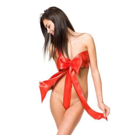 Lingerie surprise noeud à défaire déguisement sexy et coquin