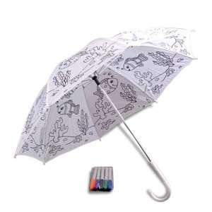 Parapluie motif poissons pour enfants parapluie à colorier, 5 feutres