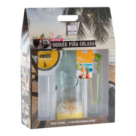 Coffret de mélange et accessoires pour Piña Colada et 2 verres