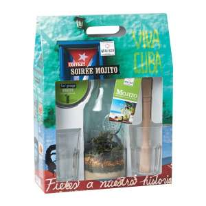 Ingrédients et accessoires pour Mojito avec 2 verres et 1 pilon