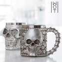 Tasse en acier inoxydable tête de mort - Mug crâne en 3D