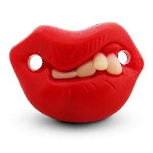 Sucette tétine humoristique dents et anneau