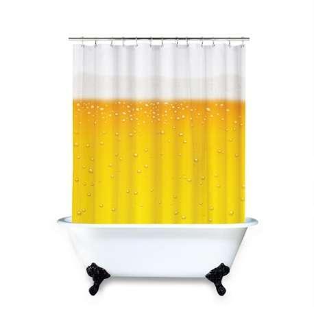 Rideau de douche imprimé bière pour decorer la salle de bain